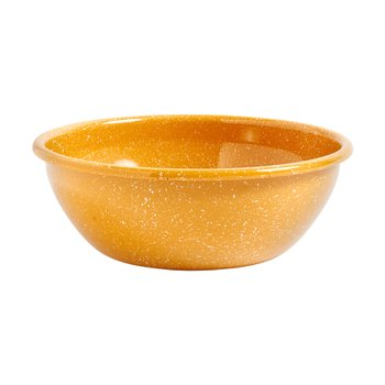ENAMEL SALAD BOWL DUST MUSTARD