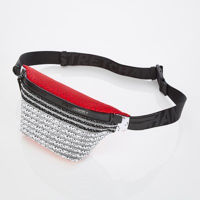 스트레치엔젤스[S.K.N] Dot stripe knit fanny-bag S (Red)