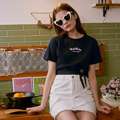 (TS-20326) CROP TIED-UP T-SHIRT NAVY