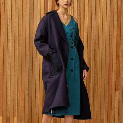 color block coat Purple