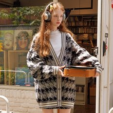 (CD-19731) HOUND TOOTH CARDIGAN GRAY
