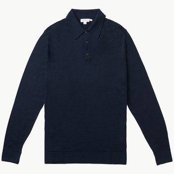 MERINO WOOL POLO LIGHT NAVY