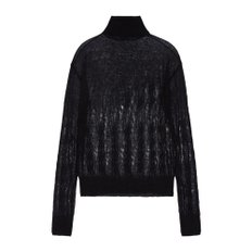공식[NINA RICCI] W_THIN MOHAIR CABLE KNIT PULL OVER_(BLACK)