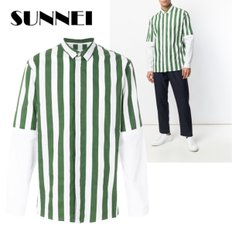 [써네이]SUNNEI striped panelled long sleeves shirt