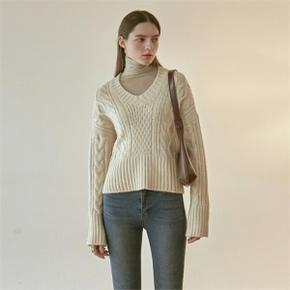 IRISH CABLE V SWEATER_CREAM (4314147)