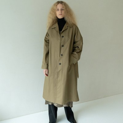 over-fit belted trench coat (khaki)