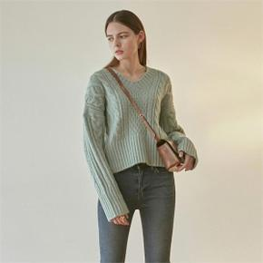 IRISH CABLE V SWEATER_MINT (4314151)