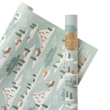 HOLIDAY SNOW SCENE WRAPPING SHEETS (3장)