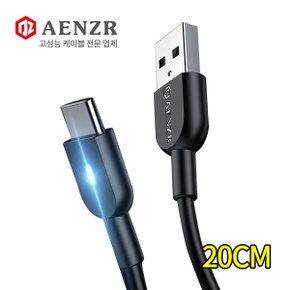 AENZR USB to Type-C LED 고속충전 숏 데이터케이블 3A 20CM