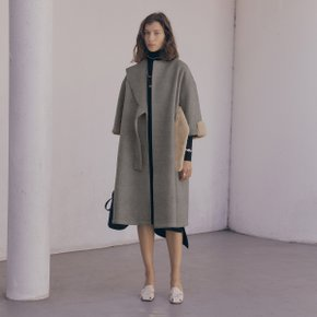 Lude Fur Belt Coat_Warm Gray