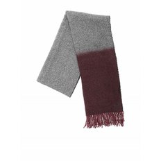 [돈덥] Harringbone scarf in gray and burgundy (UK113 Y00416U XXX 586)