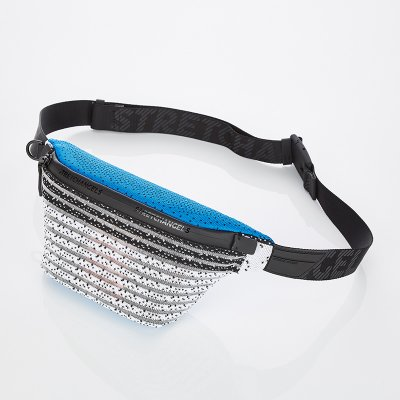 스트레치엔젤스[S.K.N] Dot stripe knit fanny-bag S (Blue)