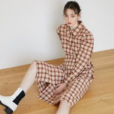 [에프코코로미즈] check puff sleeve long shirt dress BR