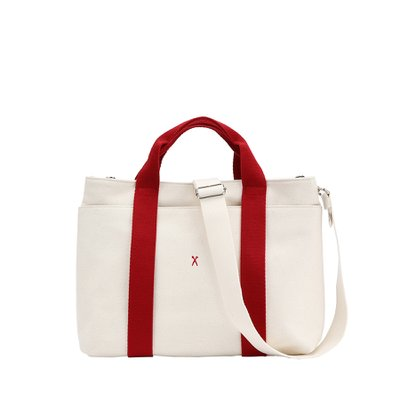 Stacey Daytrip Tote Canvas M Ivory(Red) (0JSJ5TT40207F)