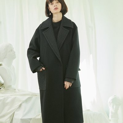 [30%할인적용가]color block coat Black