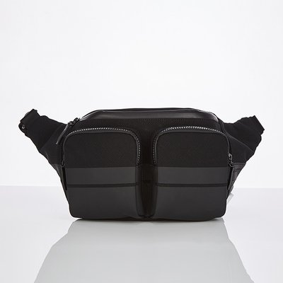 스트레치엔젤스[M.E.S.H] Double pocket fanny bag (Black)