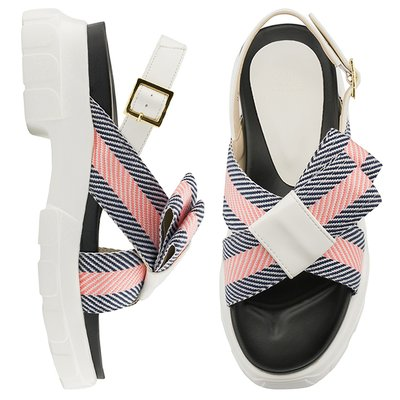 CLLIB 샌들 OS4415 CRIC_Cross stripy bow 네이비