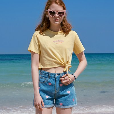 (TS-20326) CROP TIED-UP T-SHIRT YELLOW