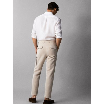 LINEN CHINO CARGO TROUSERS 00014014710