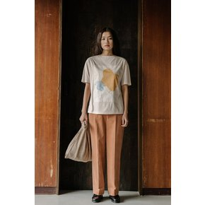 PALE BEIGE ART PATCH JERSEY TOP