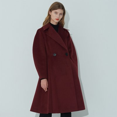 [조셉안] BURGUNDY BALLON SLEEVE DOUBLE BREASTED COAT (예약배송 11월 4일 배송)