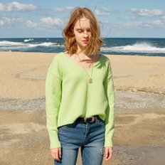 [레이브] Textured V Neck Knit (L/Green)_VK8WP0500