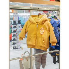 Bear baby fur hood zip up jacket