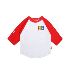 IB print color block three quarter raglan tee