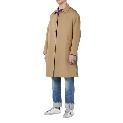 CHECK SWITCHED BALMACAAN COAT BEIGE