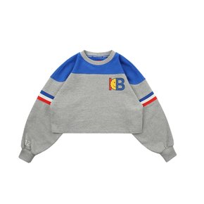 IB-print color block cropped sweatshirts