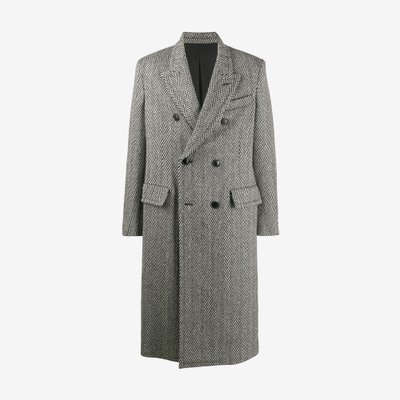 AMI 아미 PATCHED POCKETS DOUBLE-BREASTED LONG LINED COAT GREY H19M110240 / 151