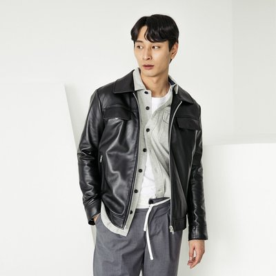 LAMB SKIN POCKET LEATHER JACKET [BLACK] (2070635)
