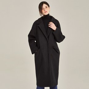 OVERSIZE SNAP BUTTON WOOL COAT (BLACK)