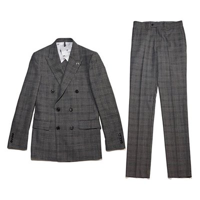 deep glen check double suit_CWFBM18454GYX_CWFCM18454GYX