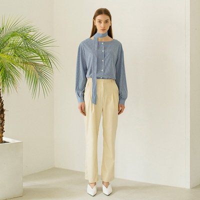 Slim Pintuck Pants -Light Beige