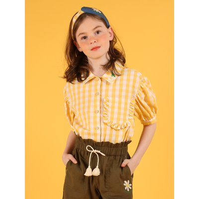 [30% sale] Daisy ruffle pocket check blouse