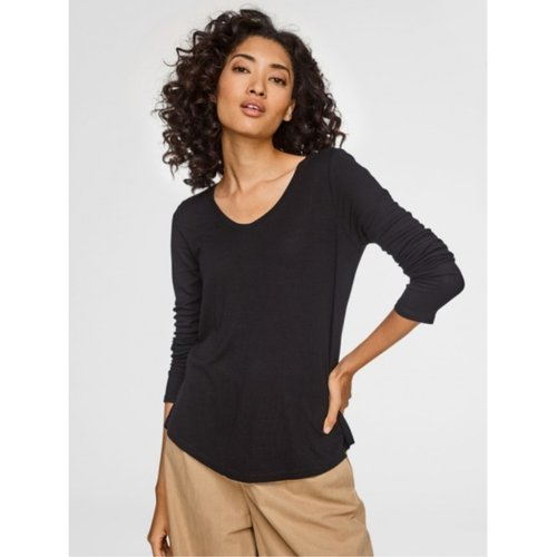 W+W Rib Jersey Swing Hem Soft V Neck