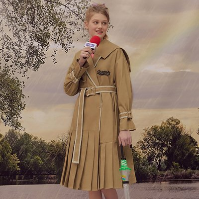(CT-18501) PLEATS TRENCH COAT BEIGE