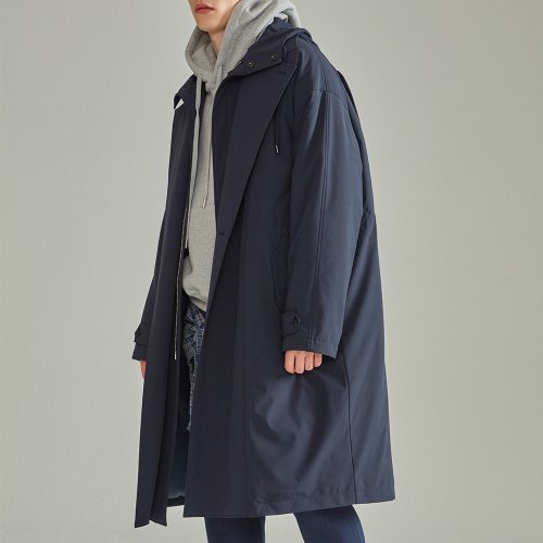 [NOHANT] LAYERED PADDING TRENCH COAT NAVY