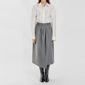 / unbalanced-hem wrapped skirt(2 colors)