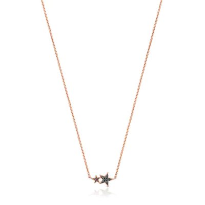 [최초출시가 179,000원]Rose Silver Vermeil Teddy Bear Stars Necklace with Spinel and Ruby/목걸이/018072510