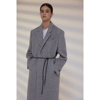 unit  Coat Harringbone Single Wool Melange Light Gray