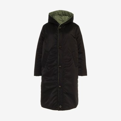 CAALO 칼로 REVERSIBLE SATIN DOWN COAT BLACK/GREEN 112BG