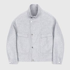 HANDMADE WOOL BREND SHORT RIDER COAT - GRAY
