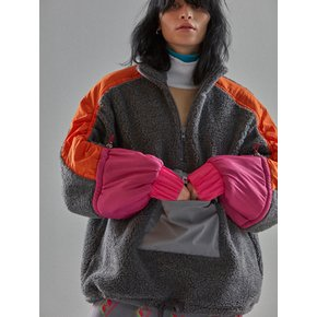 [MIMICAWE] ARM STRING FUR ZIP UP/CHARCOAL GREY