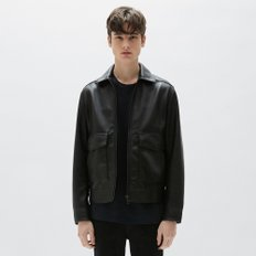 [PLAC] MEN`S LEATHER WINDBREAKER JACKET (PWON1LJR08M0C1)