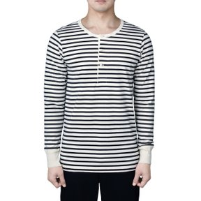 2M06 HENLEY LONG SLEEVE DEEP BLACK-NATURE