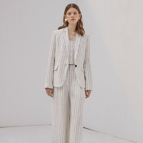 STRIPE LINEN JACKET_IVORY
