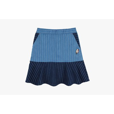 [50% SALE] Denim stripe color block skirt